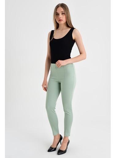 Jument Ön Arka Dikişli Dar Paça Tayt Pantolon - Beyaz Yeşil